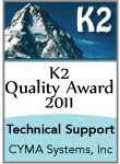 CYMA wins K2 Award for Outstanding Technical Support